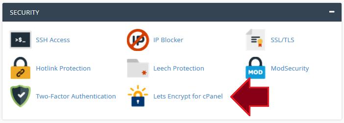 Image - Lets Encrypt cPanel Step 1